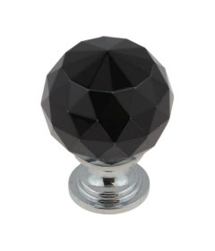 """Polished Chrome and Black Faceted Glass Knob - 1-1/4"""""""