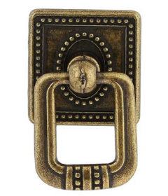 Antique Brass Vintage Federal Style Bail/Drop w/ Square Ring Pull