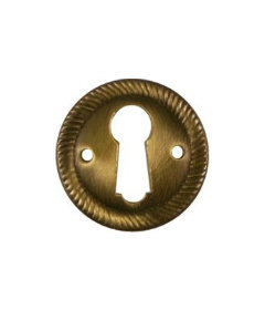 Antiqued Stamped Brass Round Keyhole Cover with Rope Edging