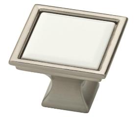 """Satin Nickel & White Ceramic Brainerd Square Vista Knob - 1-1/4"""""""