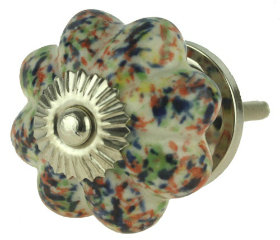 Ceramic Speckled Multi-Colored Knob - 1 3/4""