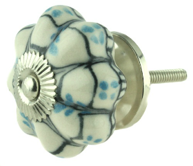 Ceramic Blue & Black Painted Design Off White Knob