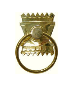 Stamped Brass Eastlake Victorian Style Single Post Ring Pull