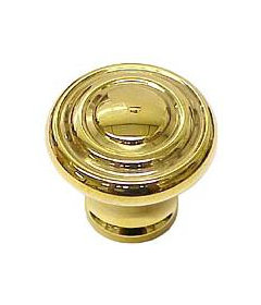 Brass Round Art Deco Knob 1 3/16""