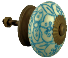 Ceramic White w/ Blue Pattern Knob - 1-1/2""