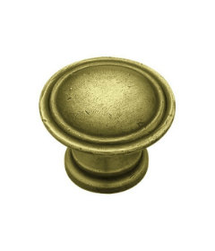 Tumbled Antique Brass Ridge Knob 1 1/8""