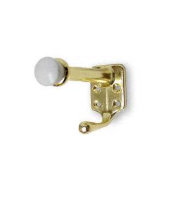 """Brass Plated Coat Door Stop Hook - 5/8"""""""