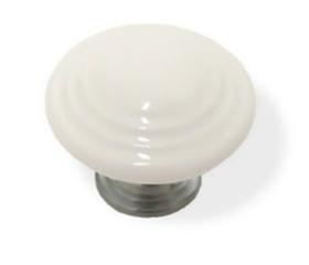 """Classic White Ceramic Chrome Base Knob - 1 3/8"""""""