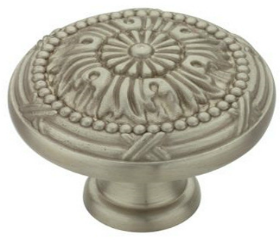 "Antique Nickel Round Vintage Floral Knob 1 1/4"""