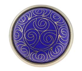 "Blue Tribal Pattern Cloisonne Knob - 1-5/8"""