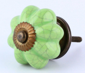 "Ceramic Antique Brass Cracked Green Knob  - 1 3/4"""