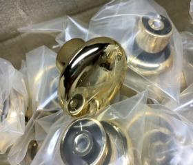 """100/ Pcs Polished Brass Plastic Mushroom Knob - 1 3/8"""""""