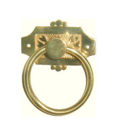 Cast Brass Victorian Eastlake Style Ring Pull