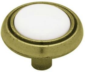 "Antique Brass w/ White Ceramic Center Knob - 1 3/16"""