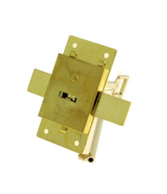 "Brass Plated Large Cabinet Furniture Lock w/ Keys - 3"" x 1-1/2"""