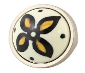 Betsy Fields Yellow Flower Knob 1-3/8""