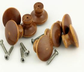 """Bag of 8 Wood Knobs with Screws Knobs - 1-1/4"""""""