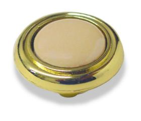 "Brass Plated w/ Almond Ceramic Center Knob  1-1/4"""
