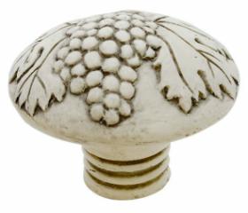 "Faux Ivory Carved Grape & Leaf Knob - 1-11/16"""