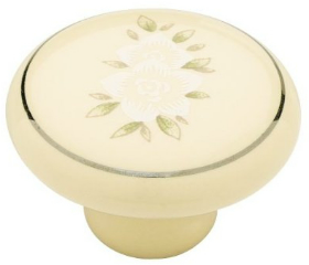 Ceramic Ivory With White Flower Pattern Knob