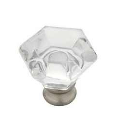 Satin Nickel Base Crystal Clear Acrylic Knob 1-1/4""