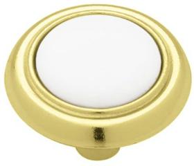 "Polished Brass & White Ceramic Knob 1-1/4"""