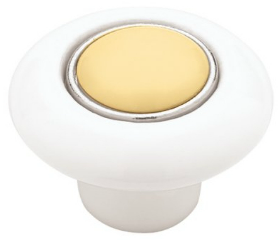 White Ceramic  w/ Butter Yellow Insert Knob - 1 1/2""