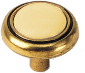 10 Pak Antique Brass Almond Ceramic Knob - 1-1/4""