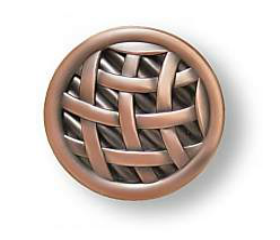 """Antique Copper Ribbon And Reed Knob 1-1/2"""""""