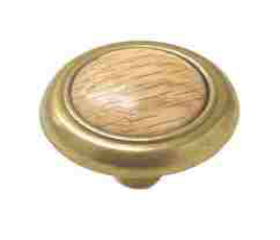 "Antique Brass Plated Knob - 1-1/4"""