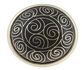 Black Tribal Pattern Cloisonne Knob - 1 5/8""