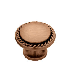 """Red Brushed Copper Rope Edged Knob 1-3/16"""""""