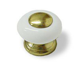 "Liberty White Ceramic & Brass Knob -3/4"""