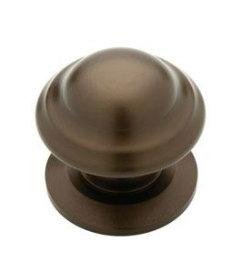 "Rubbed Bronze Round Ring Knob - 1 1/4"""