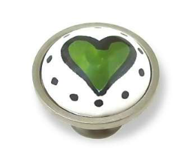 Betsy Fields Lime Green Heart Knob 1-3/8""