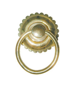 Eastlake Victorian Style Brass Single Post Ring Pull