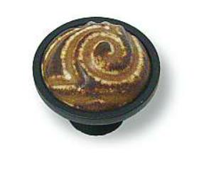 "Flat Black Base Umber & Cream Knob - 1-3/8"""