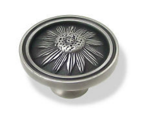 Brushed Satin Pewter Raised Blackeyed Susan Knob