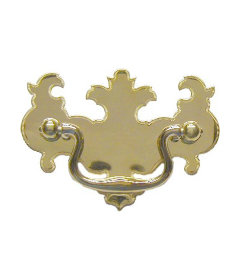 Polished Stamped Brass Chippendale Style Batwing Bail Pull