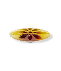 "Betsy Fields Amber Flower Pull - 3 7/8"""