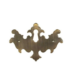 Antiqued Stamped Brass Chippendale Style Keyhole Cover