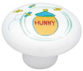 """Ceramic Pooh """"Hunny"""" Pot Knob - 1 1/2"""""""