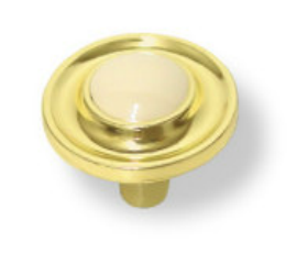 """Brass Plated with Almond Ceramic Button Center Knob - 1-1/4"""""""