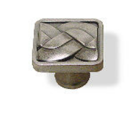"""Weave Aged Pewter Knob Square 1 1/4"""""""
