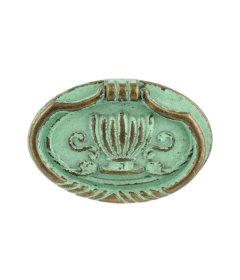 """Antique Verdigris Oval Bail Decorative Crown Center - 2-3/8"""""""