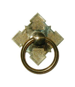 Plated Brass Eastlake Victorian Style Single Post Ring Pull