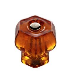 "Honey Amber Glass Hexagonal Knobs - 1 1/4"""