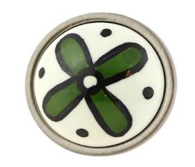"Betsy Fields Green Flower Knob 1-3/8"""