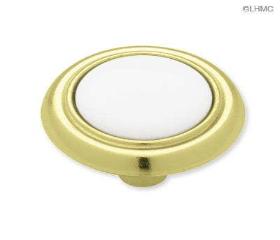 "Brass Plated White Ceramic Cabinet Knob - 1-1/4"""