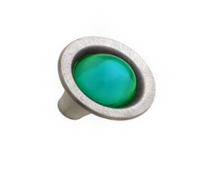 "Glass Emerald & Brushed Satin Pewter Knob 1-1/4"""